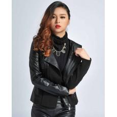 เสื้อคลุม แฟชั่นเกาหลีแจ็คเก็ตหนังผสมผ้าสวยหรูมาก นำเข้า สีดำ - พร้อมส่งTJ7242 ราคา1550บาท [หมดค่ะ]