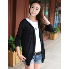 เสื้อคลุม แฟชั่นเกาหลีคาร์ดิแกนน่ารักบางสบาย นำเข้า ฟรีไซส์ สีดำ - พร้อมส่งTJ7245 ราคา350บาท [หมดค่ะ]