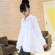 เสื้อเชิ้ต แฟชั่นเกาหลีตัวยาวระบายชีฟองสุดเซ็กซี่ นำเข้า ฟรีไซส์ สีขาว - พร้อมส่งTJ7246 ราคา995บาท [หมดค่ะ]
