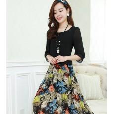 ชุดยาว แฟชั่นเกาหลีสวยชีฟองลายดอกไม้แขนสามส่วน นำเข้าไซส์Lสีดำ - พร้อมส่งTJ7248ราคา950บาท