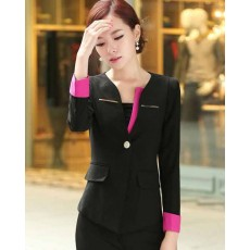 เสื้อสูท แฟชั่นเกาหลีสวยใส่ดูงานหรูออกงานราชการใหม่ นำเข้า ไซส์S สีดำ - พร้อมส่งTJ7251 ราคา1450บาท [หมดค่ะ]