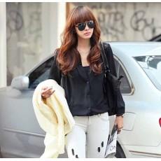 เสื้อเชิ้ต แฟชั่นเกาหลีตัวยาวลูกไม้ชีฟองสุดเซ็กซี่ นำเข้า ฟรีไซส์ สีดำ - พร้อมส่งTJ7255 ราคา995บาท [หมดค่ะ]