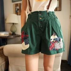 กางเกงขาสั้น แฟชั่นเกาหลีวินเทจพร้อมสายเอี๊ยมหนัง ฟรีไซส์ นำเข้า สีเขียว - พร้อมส่งTJ7264 ราคา850บาท [หมดค่ะ]