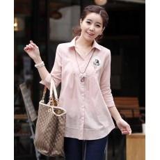 เสื้อเชิ้ต แฟชั่นเกาหลีใหม่สวยตัวหลวมน่ารักใส่สบายมาก นำเข้า สีชมพู - พร้อมส่งTJ7271 ราคา950บาท