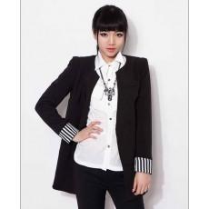เสื้อสูท แฟชั่นเกาหลีตัวยาวคอกลมสวยเทรนด์หรู นำเข้า ไซส์M สีดำ - พร้อมส่งTJ7273 ราคา1100บาท