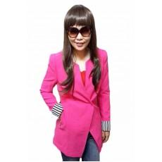 เสื้อสูท แฟชั่นเกาหลีตัวยาวคอกลมสวยเทรนด์หรู นำเข้า ไซส์L สีชมพู - พร้อมส่งTJ7273 ราคา1000บาท