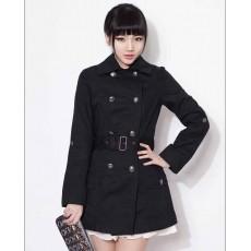 เสื้อโค้ท แฟชั่นเกาหลีตัวยาวพร้อมเข็มขัดใหม่สวยหรู นำเข้า ไซส์XL สีดำ - พร้อมส่งTJ7275 ราคา1350บาท [หมดค่ะ]