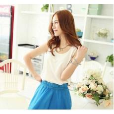 เสื้อชีฟองแขนกุด แฟชั่นเกาหลีใหม่พริ้วสวยใส่สบาย นำเข้า ไซส์2XL สีขาว - พร้อมส่งTJ7285 ลดราคาถูก