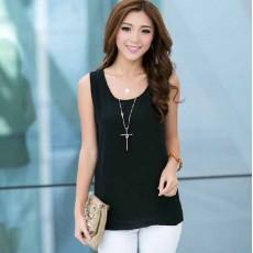เสื้อชีฟองแขนกุด แฟชั่นเกาหลีใหม่พริ้วสวยใส่สบาย นำเข้า ฟรีไซส์ สีดำ - พร้อมส่งTJ7286 ราคา199บาท [หมดค่ะ]