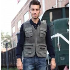 เสื้อกั๊กผู้ชาย แฟชั่นเกาหลีแจ็คเก็ตหลายกระเป๋าระบายอากาศสบายๆ นำเข้า สีเทา - พร้อมส่งTJ7294 ราคา995บาท