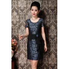 ชุดแซกราตรี ผ้าไหมเกาหลีไปงานแต่งงานหรูแบบชุดทำงานสวยสีน้ำเงิน นำเข้า ไซส์2XL - พร้อมส่งTJ7295 ราคา1590บาท