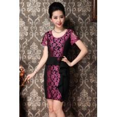 ชุดแซกราตรี ผ้าไหมเกาหลีไปงานแต่งงานหรูแบบชุดทำงานสวยสีชมพู นำเข้า ไซส์XL - พร้อมส่งTJ7295 ราคา1590บาท