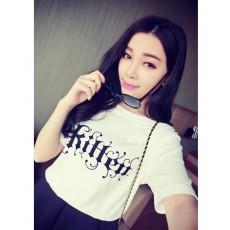 เสื้อยืดแขนสั้น แฟชั่นฮาราจูกุพิมพ์ลายน่ารักใส่สบาย นำเข้า สีขาว ฟรีไซส์ - พร้อมส่งTJ7308 ราคา199บาท [หมดค่ะ]