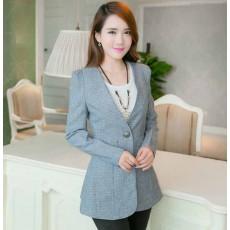 เสื้อสูท แฟชั่นเกาหลีผู้หญิงหลังระบายเข้ารูปสวยหรูมาก นำเข้า สีเทา ไซส์LถึงXL - พร้อมส่งTJ7338 ราคา1100บาท
