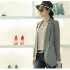 เสื้อสูท แฟชั่นเกาหลีผู้หญิงแบบเสื้อคลุมอินเทรนด์เก๋หรูมาก นำเข้า สีเทา ไซส์L - พร้อมส่งTJ7339 ราคา1100บาท [หมดค่ะ]