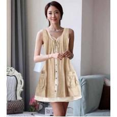 ชุดแซกแขนกุดตัวยาวผ้าผ้ายเกาหลี แฟชั่นน่ารักสไตล์เดรสทรงหลวมอินเทรนด์ใหม่ นำเข้า ฟรีไซส์ สีครีม - พร้อมส่งTJ7342 ราคา950บาท