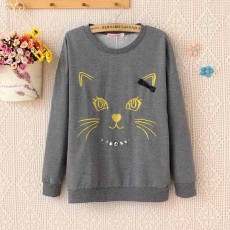 เสื้อกันหนาว แฟชั่นเกาหลีน่ารักรูปแมวคิตตี้อินเทรนด์ใหม่ นำเข้า ฟรีไซส์ สีเทา - พร้อมส่งTJ7343 ราคา990บาท