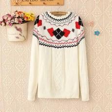 เสื้อกันหนาวไหมพรม แฟชั่นเกาหลีแขนยาวคอระบายหยักสไตล์ผู้หญิงสวย นำเข้า ฟรีไซส์ สีขาว - พร้อมส่งTJ7345 ราคา1100บาท [หมดค่ะ]