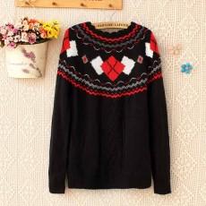 เสื้อกันหนาวไหมพรม แฟชั่นเกาหลีแขนยาวคอระบายหยักสไตล์ผู้หญิงสวย นำเข้า ฟรีไซส์ สีดำ - พร้อมส่งTJ7345 ราคา1100บาท [หมดค่ะ]