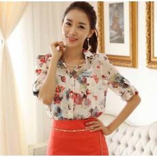 เสื้อเชิ้ตผู้หญิง แขนยาวผ้าชีฟองลายดอกไม้ตัวหลวมแฟชั่นเกาหลี นำเข้า ไซส์XLถึง2XL - พร้อมส่งTJ7348 ราคา995บาท