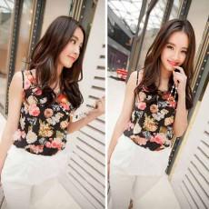 เสื้อชีฟองแขนกุด แฟชั่นเกาหลีน่ารักลายดอกไม้เนื้อนุ่มใหม่ นำเข้า ไซส์2XL - พร้อมส่งTJ7360 ราคา450บาท