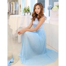 ชุดราตรียาวสีฟ้า แต่งลูกไม้สไตล์แซกน่ารักใส่ไปงานแต่งแฟชั่นเกาหลี นำเข้า มีไซส์ใหญ่XL - พร้อมส่งTJ7365 ราคา1350บาท
