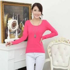เสื้อยืดแขนยาว แฟชั่นเกาหลีผู้หญิงน่ารัก นำเข้า สีชมพูเข้ม - พร้อมส่งTJ7404 ราคา250บาท