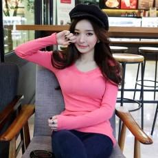เสื้อยืดแขนยาว แฟชั่นเกาหลีผู้หญิงน่ารัก นำเข้า สีชมพู - พร้อมส่งTJ7404 ราคา250บาท