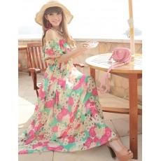 ชุดยาว แฟชั่นเกาหลีเดรสชีฟองแซกลายดอกไม้ Bohemian Beach Dress สวยมาก ฟรีไซส์ - พร้อมส่งTJ7428 ราคา1300บาท