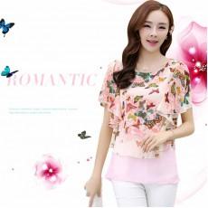 เสื้อชีฟองแขนค้างคาว แฟชั่นเกาหลีสวยหวานลายผีเสื้อพริ้วน่ารัก นำเข้า ไซส์2XL สีชมพู - พร้อมส่งTJ7452 ราคา950บาท
