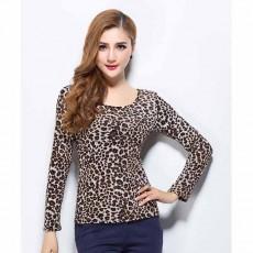 เสื้อยืดแขนยาว แฟชั่นเกาหลีผู้หญิงลายเสือดาวน่ารักใส่สวยแน่นอน นำเข้า ฟรีไซส์ - พร้อมส่งTJ7473 ลดราคา99บาท