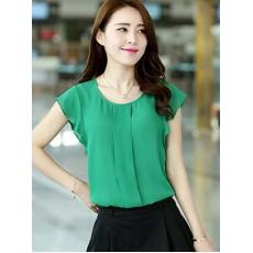 เสื้อทำงานสวยๆ ชีฟองแขนดอกทิวลิปแฟชั่นผู้หญิงเกาหลีสวยใหม่ นำเข้า ไซส์L สีเขียว - พร้อมส่งTJ7475 ราคา595บาท