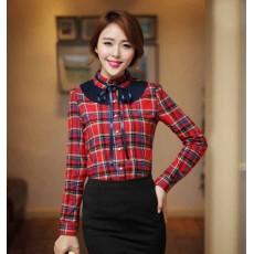 เสื้อเชิ้ต แฟชั่นเกาหลีลายสก๊อตตารางแต่งชีฟองพลีทอินเทรนด์ นำเข้า ไซส์XL สีแดงน้ำเงิน - พร้อมส่งTJ7478 ราคา1300บาท
