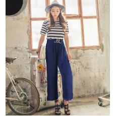 กางเกงยาวขาบาน เอวสูงมียางยืดแฟชั่นเกาหลีทรงพริ้วใส่ทำงานสวยใหม่ นำเข้า ฟรีไซส์ สีน้ำเงิน - พร้อมส่งTJ7488 ราคาถูก