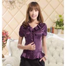 เสื้อเชิ้ตสีม่วง ผู้หญิงแขนสั้นใส่ทำงานสวยแฟชั่นเกาหลีผ้าไหมซาติน นำเข้า สีม่วง ไซส์M - พร้อมส่งTJ7502 ลดราคาถูก