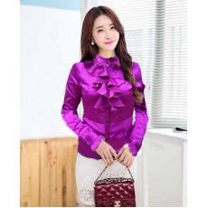 เสื้อเชิ้ตสีม่วง ผู้หญิงแขนยาวคอตั้งแต่งระย้าสวยแฟชั่นเกาหลีผ้าไหมซาติน นำเข้า สีม่วง ไซส์L - พร้อมส่งTJ7503 ลดราคาถูก