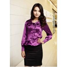 เสื้อเชิ้ตสีม่วง ผู้หญิงแขนยาวใส่ทำงานสวยแฟชั่นเกาหลีผ้าไหมซาติน นำเข้า สีม่วง ไซส์L - พร้อมส่งTJ7504 ลดราคา399
