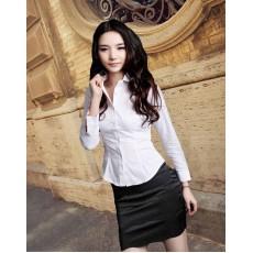 เสื้อเชิ้ตผู้หญิง แฟชั่นเกาหลีสวยด้วยเสื้อเชิ้ตสีขาวแขนยาวใส่ทำงานเรียบร้อย นำเข้า ไซส์2XL - พร้อมส่งTJ7505 ลดราคา399