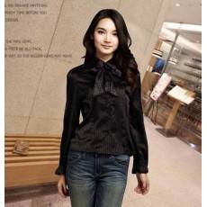 เสื้อเชิ้ตสีดำ ผู้หญิงแขนยาวทำงานคอผูกโบว์สวยแฟชั่นเกาหลีผ้าไหมซาติน นำเข้า สีดำ ไซส์XL - พร้อมส่งTJ7507 ลดราคา399