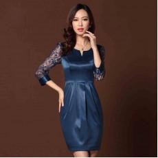 ชุดราตรีผ้าไหม แต่งลูกไม้แฟชั่นเกาหลีไปงานแต่งงานทรงสวยหรูหรา สีน้ำเงิน นำเข้า - พร้อมส่งTJ7523 ราคา1990บาท