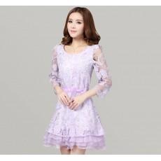 ชุดราตรี ผ้าไหมแก้วเกาหลีลายดอกไม้ Organza Lace Dress หรูมาก ไซส์XL นำเข้า สีม่วง - พร้อมส่งTJ7524 ราคา1500บาท
