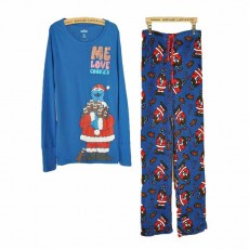 ชุดนอนกางเกงขายาวกันหนาว แฟชั่นผู้หญิงผ้าสำลีพิมพ์ลายน่ารัก นำเข้า สีฟ้าน้ำเงิน - พร้อมส่งTJ7538 ราคา800บาท