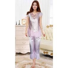 ชุดนอนกางเกง ผ้าซาตินแฟชั่นผู้หญิงชีฟองระบายหรูสไตล์เกาหลี ไซส์MและL นำเข้า สีชมพู - พร้อมส่งTJ7541ลดพิเศษ250บาท