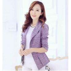 เสื้อสูท แฟชั่นเกาหลีเบลเซอร์ลายสก็อตผู้หญิงสวยหรูมาก นำเข้า สีม่วง ไซส์2XL - พร้อมส่งTJ7547 ราคา1200บาท