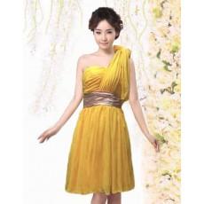 ชุดราตรีสั้น ชีฟองบ่าเดี่ยวใส่ไปงานแต่งงานและงานราตรีแฟชั่นเกาหลี ไซส์S นำเข้า สีเหลือง - พร้อมส่งTJ7580 ราคา399บาท
