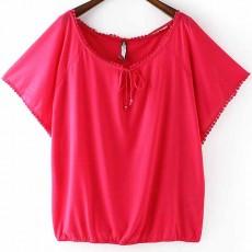 เสื้อยืดแขนสั้น แฟชั่นเกาหลีผู้หญิงสไตล์แขนปีกผีเสื้อขอบระบายสวยหวานน่ารัก นำเข้า สีชมพู ไซส์L - พร้อมส่งTJ7583