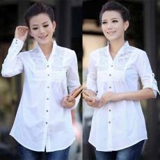 เสื้อเชิ้ต แฟชั่นเกาหลีปักลายสวยใส่ทำงานตัวยาวสไตล์วินเทจหรู นำเข้า ไซส์XXL สีขาว - พร้อมส่งTJ7607 ราคา1190บาท