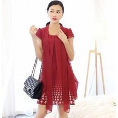 ชุดราตรีสั้น แฟชั่นเกาหลีผ้าชีฟองพิมพ์ลายสวยหรูหรา ไซส์ใหญ่XL สีแดง นำเข้า - พร้อมส่งTJ7609 ราคา990บาท