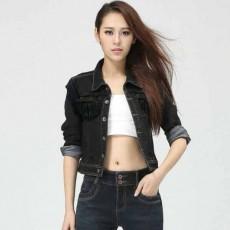 เสื้อแจ็คเก็ตยีนส์ ผู้หญิงแฟชั่นเกาหลีแขน3ส่วนเอวตรงสวยเข้ารูปเซ็กซี่ ส่งออก สีดำ ฟรีไซส์ - พร้อมส่งTJ7643 ราคา850บาท