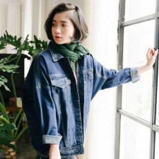 เสื้อแจ็คเก็ตยีนส์ ผู้หญิงกันหนาวผ้า2ชั้นแฟชั่นเกาหลีแขนยาวเอวตรง ส่งออก ฟรีไซส์ สีน้ำเงิน - พร้อมส่งTJ7652 ราคา1150บาท